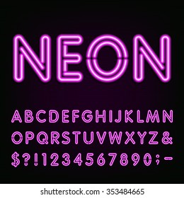 Purple Neon Alphabet Font. Light effect letters, numbers and symbols on the dark background. Vector typeface for labels, titles, posters etc.