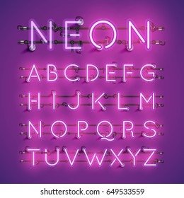Purple neon character font set on purple background, vector illustration