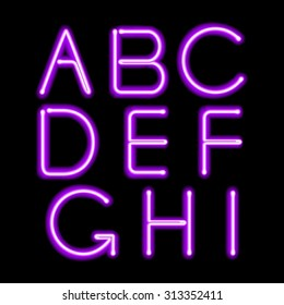 Purple neon light glowing letters set. Abc alphabet text symbols vector illustration.
