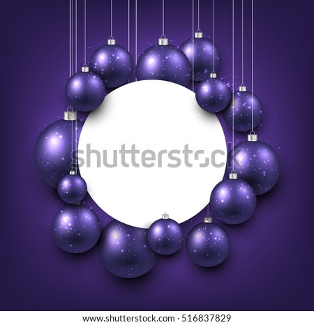 purple new year background with christmas balls vector illustration