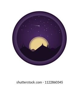 Purple night landscape with fur trees flat illustration