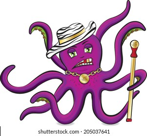 Purple octopus with zebra hat and pimp stick vector isolated