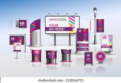 Purple outdoor advertising design for corporate identity with color geometric elements. Stationery set