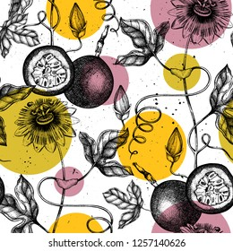 Purple passionfruit background. Tropical plant hand drawn illustration. Engraved botanical sketch of passion fruit. Passiflora seamless pattern.
