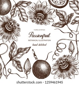 Purple passionfruit hand drawn illustration. Engraved botanical of passion fruit sketch. Vintage passiflora design.  Exotic plant template.