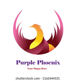 Purple Phoenix template Logo Design Purple and Yellow Color