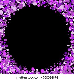 Purple and pink circles on a background. Beautiful background. Confetti. A frame of circles. A scattering of confetti. Placer from the circles. Beautiful background. Vector illustration.