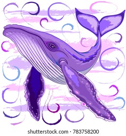 Purple and Pink Humpback Whale, Surreal Underwater Creature, Swimming among abstract water swirls and Watercolor Paint brush strokes
