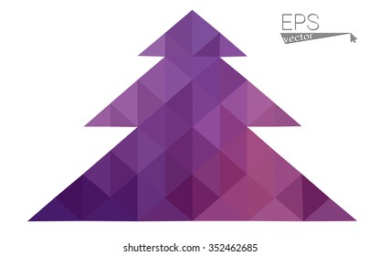 Purple, pink low polygon style christmas tree vector illustration consisting of triangles.Abstract triangular polygonal origami or crystal design of New Years celebration.Isolated on white background.