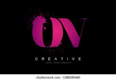 Purple Pink OV O V Letter Logo Design with Ink Watercolor Splash Spill Vector Illustration.