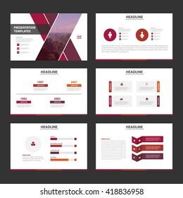Purple and pink presentation templates Infographic elements flat design set for brochure flyer leaflet marketing advertising