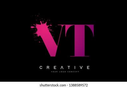 Purple Pink VT V T Letter Logo Design with Ink Watercolor Splash Spill Vector Illustration.