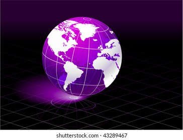 Purple Planet  Original Vector Illustration Globe Ideal for Business Concept