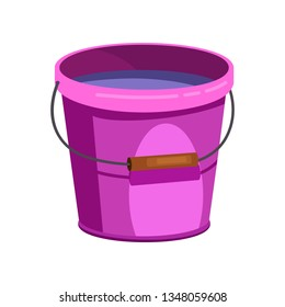 Purple plastic bucket illustration.Basket, home, cleaning. Houseware concept. Vector illustration can be used for topics like home, cleaning, houseware