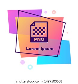 Purple PNG file document. Download png button icon isolated on white background. PNG file symbol. Color rectangle button. Vector Illustration