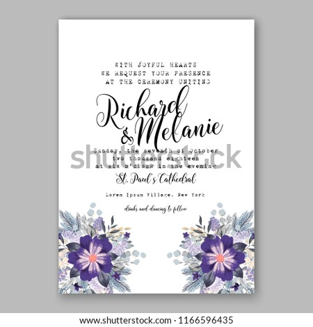 purple poinsettia christmas party invitation winter stock vector