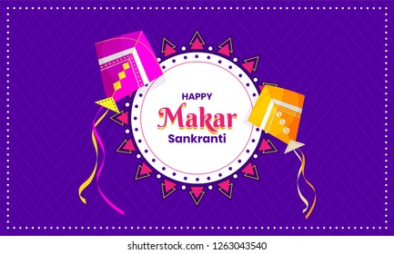 Purple poster or banner design with flying kites illustration for Makar Sankranti festival celebration.