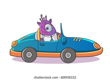 Purple Professional Monster driving the car. Vector Illustration . Isolated on white background.