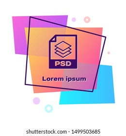 Purple PSD file document. Download psd button icon isolated on white background. PSD file symbol. Color rectangle button. Vector Illustration