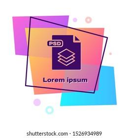 Purple PSD file document. PSD file symbol. Color rectangle button. Vector Illustration