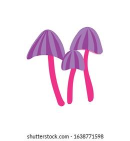 purple psychedelic mushrooms. vector illustration. simple color image. symbol, icon, logo