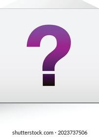 Purple question mark on white box