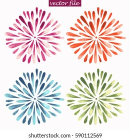 Purple, Red, Green, and Blue Watercolor Vector Sunburst Flowers. Spring daisy illustration in trendy colors.