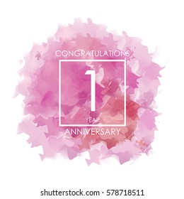 purple, red. and pink Abstract Watercolor 1 Year Anniversary. Paint Texture,Watercolor backdrop, Cloud and White Square Vector Illustration for Family, Shop, Business, Company, and Events