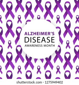 Purple ribbon. Alzheimers awareness. healthcare and medicine concept. Vector illustration.