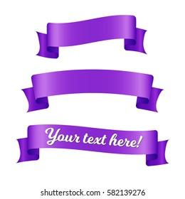 Purple ribbon banners set. Decorative elements isolated on white background.