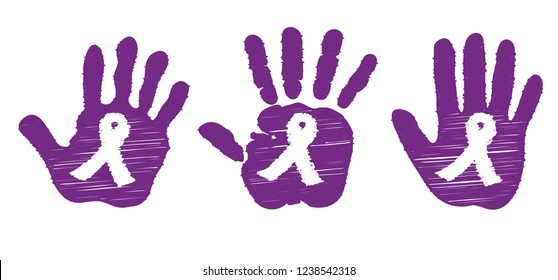 Purple ribbon (child's) hand, Epilepsy cancer awareness Vector Awareness ribbon cancer World day of fight against cancer Pancreatic november May safety first Think pink Ribbons ribbon card Down month