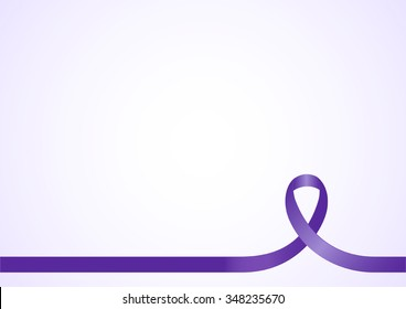 Purple ribbon for design background template with copy space.