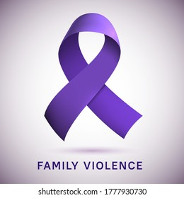Purple ribbon loop isolated on gradient background. Vector illustration. Symbol of campaign against family violence. Realistic color stripe emblem. Digital symbolic icon for print and web materials.