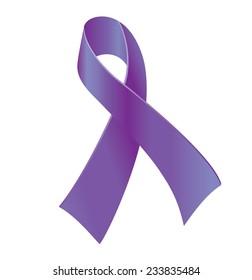 Purple ribbon - symbol of general cancer awareness, drug overdose, domestic violence, Alzheimer disease.