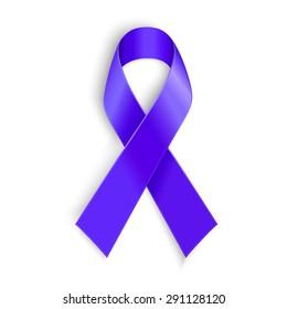 Purple ribbon. Symbol of general cancer awareness, Lupus awareness, drug overdose, domestic violence, Alzheimer disease