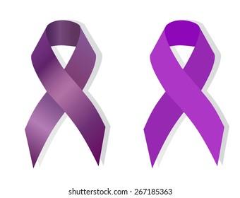 Purple ribbon symbolizing Cancer Survivor, gynecologic cancer, Creutzfeldt-Jakob Disease, domestic violence, drug overdose, migraine, Spirit Day, victims of homophobia, childhood hemiplegia  awareness