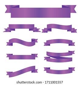 Purple ribbon symbolizing cancer survivors, gynecological cancer. Violet ribbon vector