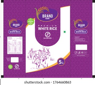 purple Rice Package Thailand food Logo Products and Fabric Background Thai Arts, banner and poster template design rice food. Thai Arts, banner and poster template design rice food.