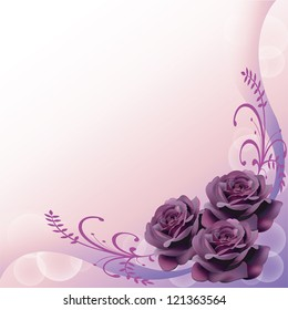 Purple roses background pattern layout design for adult love or invitation card, give the sad and mystic feelings.