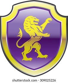 Purple Royal Shield with golden Lion Vector art