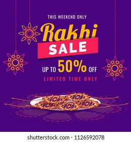 Purple sale banner or flyer design with 50% discount and rakhi (wristbands) in a tray for celebration concept.