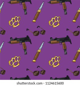 Purple seamless gangster pattern. Background with vector objects of gangster theme.