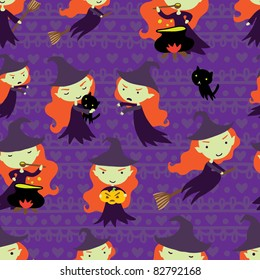 purple seamless pattern with witch