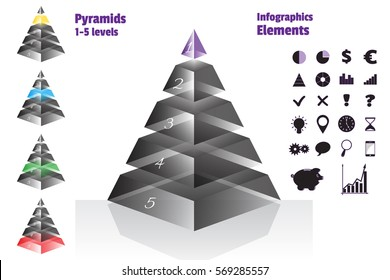 Purple set of isometry symmetrical pyramid charts, diagram 5 levels with glass texture. Elements infographics. Vector