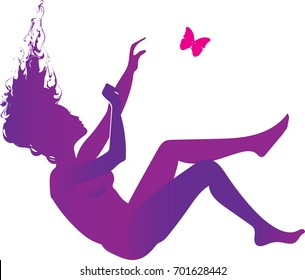 Purple  silhouette of a falling woman with pink butterfly - symbol of fibromyalgia, chronic pain and chronic fatigue syndrome, broken dreams