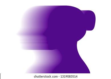 Purple silhouette of woman.