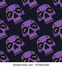 Purple Skull with Orange Eyes Halloween Seamless Pattern