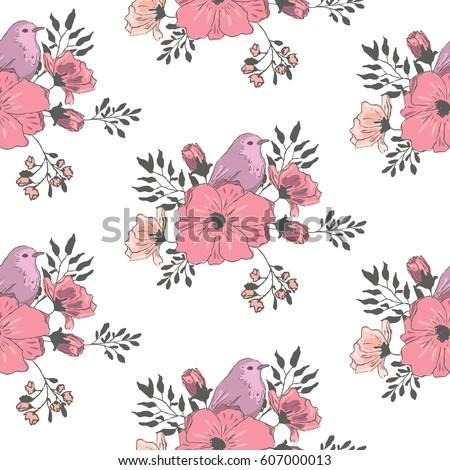 Purple Small Bird Flowers Wallpaper Seamless Stock Vektorgrafik