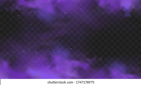 Purple smoke isolated on transparent dark background. Abstract purple powder explosion with particles and glitter. Smoke hookah, poison gas, violet dust, fog effect. Realistic vector illustration