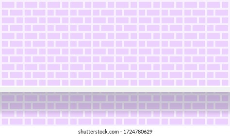 purple soft brick wall pattern with shelf for background, modern pastel purple wall brick pattern for decoration architecture, brick tile wall and plank shelf, brick tiled grid of toilet wall, vector